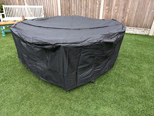 Cubierta para muebles de jardin de 1,9 m, transpirable, ajustable, mesa redonda elastica circular de 4 a 6 plazas, juego de comedor grande para patio