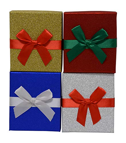 Christmas Gift Card Holders, Box with Attached Ribbon, Two of Each Holiday Design (Set of 8)