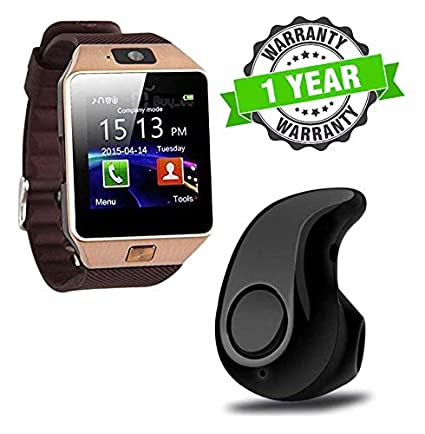 419330a41dbf Kingsford Dz09 Bluetooth Smart Watch with Camera   Sim Slot and S530 Mini  Bluetooth Headset for Apple iPhone   Android Smartphone  Amazon.in   Computers   ...
