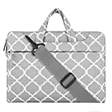 Mosiso Laptop Shoulder Bag / Briefcase, Quatrefoil Style Canvas Fabric Carry Case Bag for 15-15.6 Inch Notebook Computer / MacBook Air & Pro, Gray