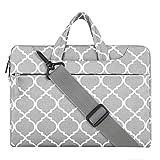 Mosiso Laptop Shoulder Bag / Briefcase, Quatrefoil Canvas Fabric Case Bag for 12.9 iPad Pro / 13.3 Inch Notebook / MacBook Air & Pro , Gray