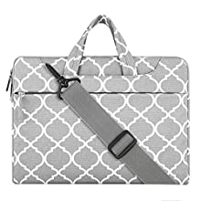 MOSISO Laptop Shoulder Bag Compatible 15-15.6 Inch MacBook Pro, Ultrabook Netbook Tablet, Quatrefoil Canvas Protective Briefcase Carrying Handbag Sleeve Case Cover, Gray