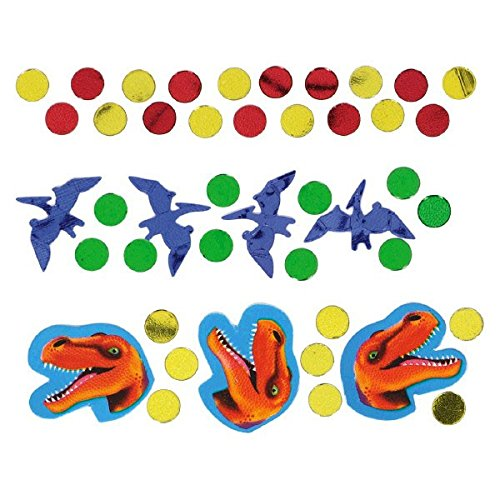 Amscan Prehistoric Party Dinosaurs and Dots Confetti Mix Decoration, 1 Pieces, Made from Foil, Multicolor, 1.2 oz (Bj Party Supplies)