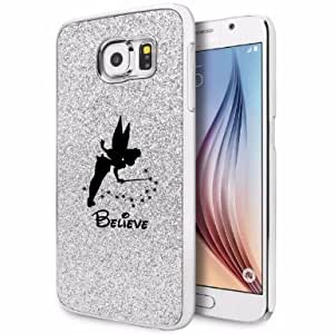 Samsung Galaxy S6 Edge Glitter Bling Hard Case Cover Fairy Believe (Silver)