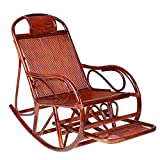 Home Rattan Rocking Chair, Retractable Pedals to Relax The Elderly Seat Recliner 624-YY (Color : Brown)
