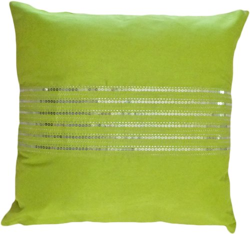 Blue Dolphin Decorative Silver Sequins Stripes & Zig Zag Embroider Throw Pillow Cover 18