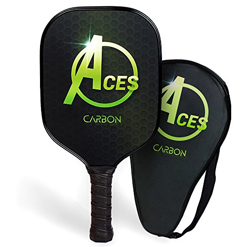 ACES Elite 3K Carbon Fiber Pickleball Paddle with Paddle Carry Bag | Premium Aluminum Honeycomb Core | Professional Series | Ultra Light Weight | Cushion Grip | 2018 Model (Plus Paddle Performance)