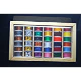 36 Fly Tying Spools Of Thread, Floss, Tinsel, Wool, Wires in a Wooden Box