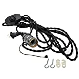 LJY 15ft/4.5m Vintage Extension Hanging Lantern Twisted Textile Cord with E26/E27 Base Socket & Dimmer Switch, 2-Prong US AC Power Plug for Pendant Lighting