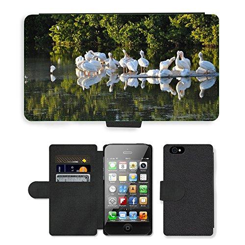 Just Phone Cases PU Leather Flip Custodia Protettiva Case Cover per // M00128234 Oiseaux Pélicans Floride Sanibel Island // Apple iPhone 4 4S 4G