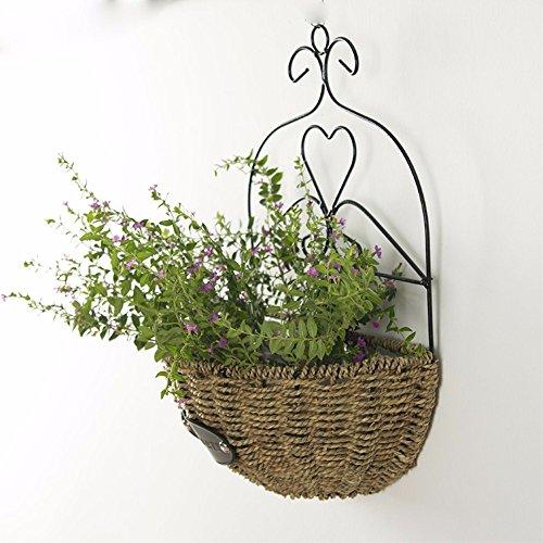 EXDJ Rattan Grass wicker flower basket hanging flower basket hand woven flower pot balcony hanging basket flower pot,28x13cm by EXDJ