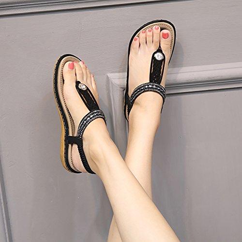 Meeshine Womens Summer Beach Flat Sandals Rhinestone Shiny Beads Slip On Flip Flops Thong Shoes(11 B(M) US,Black 04) by Meeshine (Image #4)