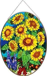 Joan Baker Designs Apm710 Sunflower Field Glass Art Panel, 14-1/4 By 19-1/4-inch