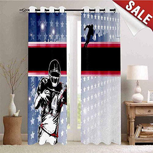 Hengshu Americana Customized Curtains Baseball American Football Player Running in The Field with The Stars Pattern Window Curtain Drape W72 x L96 Inch Multicolor