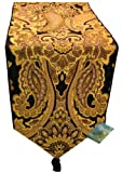 MWW Gold Ariana Holiday Persian Paisley Tapestry Table Runner with Tassel 13x72