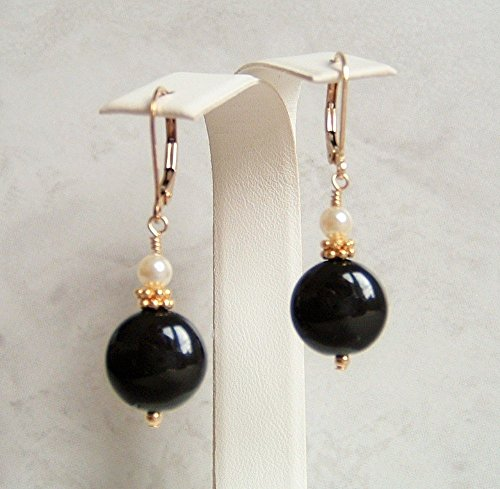 Black Coin Simulated Pearl Gold Filled Leverback Earrings Her Special Day Gift Idea