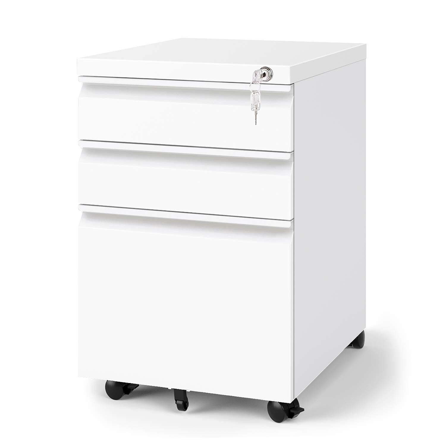 DEVAISE 3-Drawer Mobile File Cabinet with Lock, 19.7'' Depth, Legal/Letter Size, White by DEVAISE