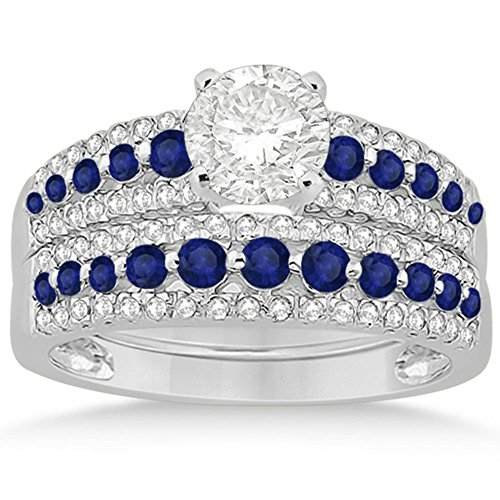 Semi-Eternity Three-Row Prong Setting Blue Sapphire and Diamond Bridal Set in Platinum 1.18ct