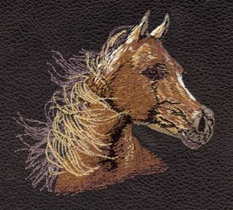 (Leather Checkbook Cover / Planner with Horse Embroidery, Brown, Windy Day)