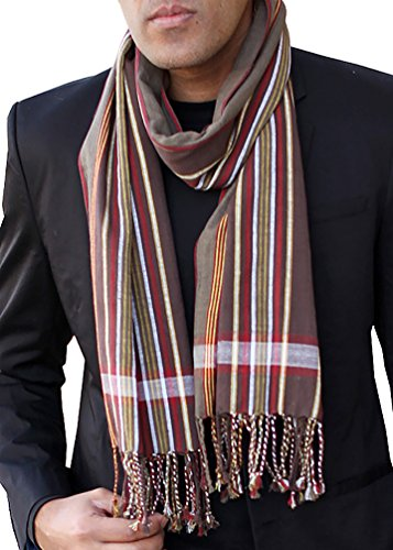 Men's George Modern Multicolor Stripe Scarf Natural Cotton, Brown by Anika Dali (Image #7)