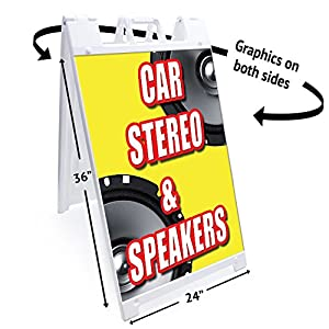 "A-frame Car Stereo & Speakers Sign With Graphics On Each Side | 24"" X 36"" Print Size 