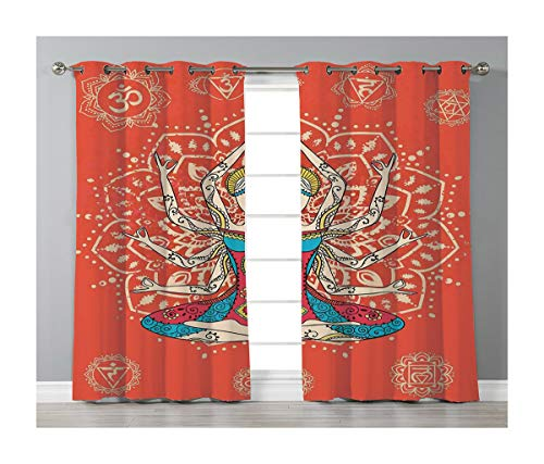 Goods247 Blackout Curtains,Grommets Panels Printed Curtains for Living Room (Set of 2 Panels,55 by 63 Inch Length),Yoga Decor -
