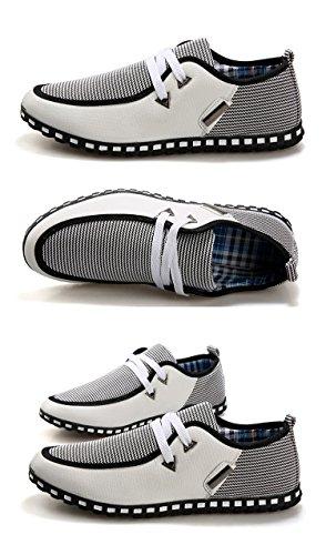 SODIAL(R) Hommes Toile Decontracte Chic Lacet Glissement Mocassins Tisse Chaussures de Conduite Blanc + Gris Taille 43(US 9.5/UK 9/EUR 43)