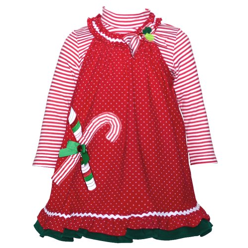(Rare Editions Red Dot Corduroy Candy Cane Jumper Set Baby Girl 18M)