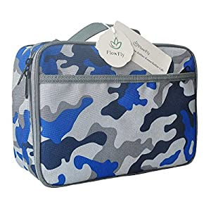 Kids Lunch box Insulated Soft Bag Mini Cooler Back to School Thermal Meal Tote Kit for Girls, Boys by FlowFly,Blue Camo