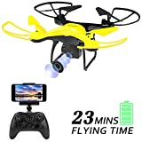 Dwi Dowellin WiFi FPV Drone with 720P HD Camera Lens 23mins Long Flight Time RC Quadcopter with Altitude Hold 3D Flips Rolls Trajectory Flight One Key Take Off Landing Return