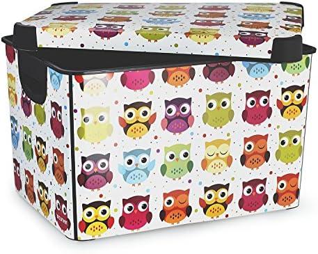 CURVER 22 litros plástico Stockholm Deco diseño de búhos Caja de almacenaje, Multi-Color: Amazon.es: Hogar