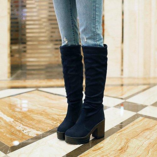 Mee Shoes Damen simpel chunky heels Plateau Stiefel Blau