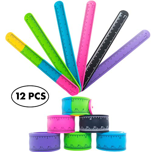 12 Ruler Slap Bracelets Birthday Party Favors Supplies for Kids - Silicone Ruler Bracelet Pack for Boys Girls Treasure Box Prizes for Classroom and Teacher Rewards for Students - Goodie Bag Fillers ()