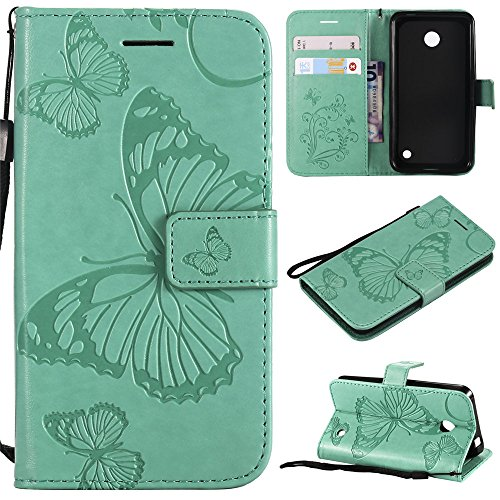 es,IVY [3D Butterfly] Lumia 635 PU Leather Cover Wallet Phone Case For Nokia Lumia 635 - Baby Green ()