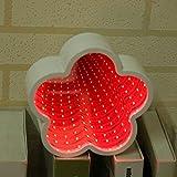 Rockrok Flower Shape LED Night Light 3D Tunnel Mirror Lamp Kids Gifts Home Decor