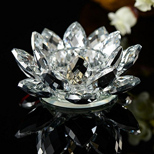 Afus Candlestick 7 Colors Crystal Glass Lotus Flower Candle Tea Light Holder Buddhist Candlestick (C)