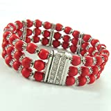 C.Z. (.925) STERLING SILVER AND RED CORAL RHODIUM PLATED BRACELET (Nice Holiday Gift, Special Sale)