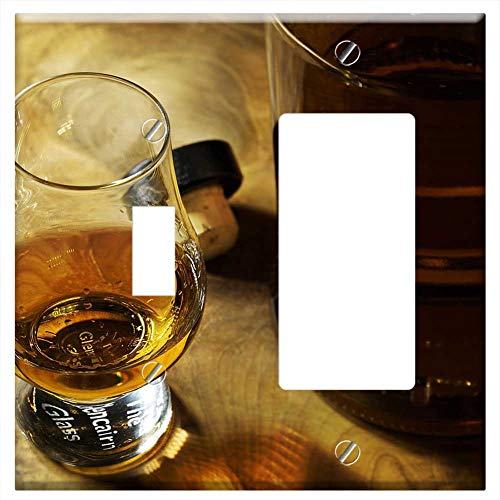 1-Toggle 1-Rocker/GFCI Combination Wall Plate Cover - Drink Glass Alcohol Bar Whisky Bottle Brandy