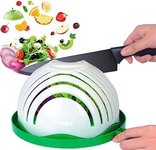 Salad Cutter Bowl, Ommani 60 Second Salad Maker Family Size Fast Vegetable Cutter Bowl, Salad Slicer Salad Chopper Strainer Cutting Board 4 in 1 Durable FDA-Approved for Kitchen