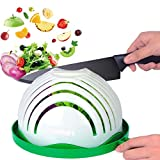 Salad Cutter Bowl, Ommani 60 Second Salad Maker Family Size Fast Vegetable Cutter Bowl, Salad Slicer Salad Chopper Strainer Cutting Board 4 in 1 Durable FDA-Approved for Kitchen