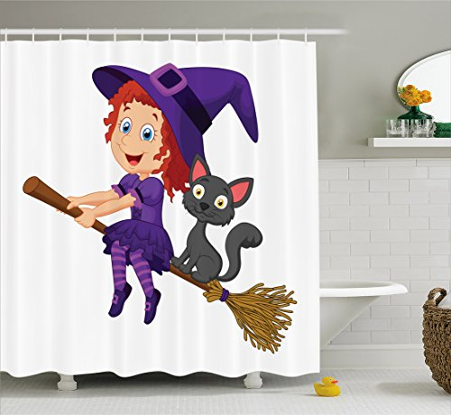 Lunarable Witch Shower Curtain, Cute Happy Girl with Funny Cat Celebration Costume Joyful Party Halloween Childhood, Fabric Bathroom Decor Set with Hooks, 84 inches Extra Long, Multicolor -