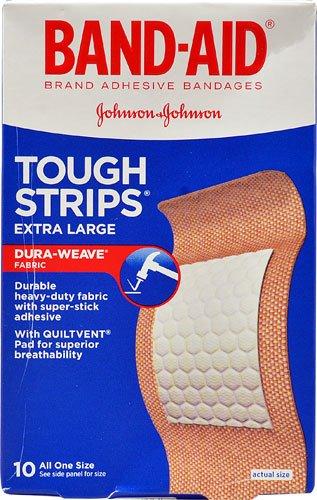 Johnson & Johnson Band-Aid? Tough Strips? Bandages Extra Large -- 10 Bandages - 2PC