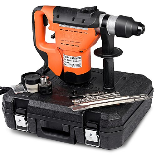 """Goplus Electric Rotary Hammer, 1-1/2"""" SDS 1100W Rotary Hammer Drill with Vibration Control, 3 Drill Functions, Plus Demolition Bits, Includes 3 Drill Bits,Point and Flat Chisel with Case"""