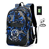 2-FNS Luminous Laptop Backpack, High School Boys School Backpack Bags with USB Charging & Headphone Port Bookbags