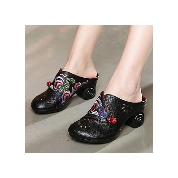 Gtvernh-in Estate La Cina Nazionale Eolica Retro Ricami Scarpe Da Donna Grosso E Medio Tacchi Baotou Fico Pantofole Viaggi 39 Black