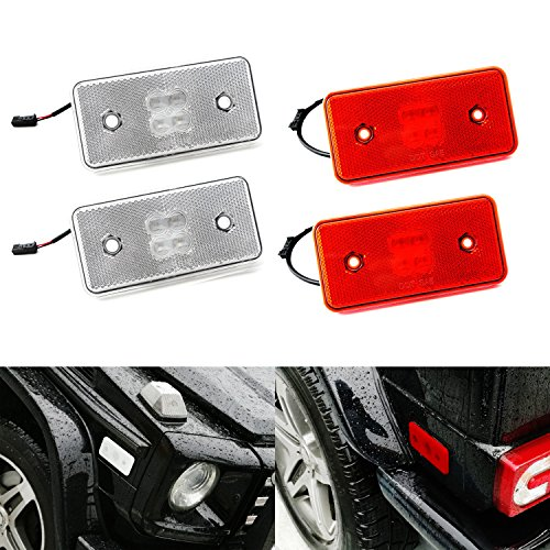 iJDMTOY (4) Clear Lens Front & Red Lens Rear LED Side Marker Lights SET For 2002-2014 Mercedes W463 G-Class G500 G550 G55 G63 AMG (Front: Amber LED, Rear: Red LED)