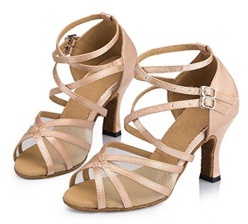 Tda Moda Para Mujer De Tacón Alto Starp Satén De Malla Peep Toe Boda Zapatos De Baile Latino Beige