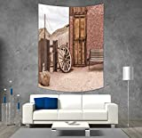 Cheap iPrint Polyester Tapestry Wall Hanging,Barn Wood Wagon Wheel,Abandoned Old Farmhouse Doorway Traditional Rustic Outdoors Decorative,Umber Light Brown,Wall Decor for Bedroom Living Room Dorm