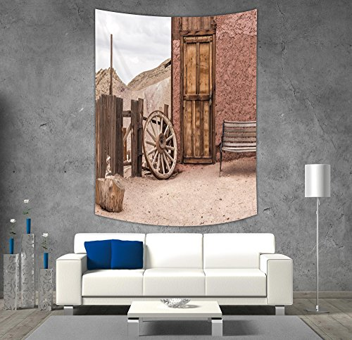 iPrint Polyester Tapestry Wall Hanging,Barn Wood Wagon Wheel,Abandoned Old Farmhouse Doorway Traditional Rustic Outdoors Decorative,Umber Light Brown,Wall Decor for Bedroom Living Room Dorm