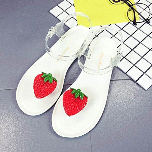 Binmer (tm) Vrouwen Fruit Flip Flops Sandalen Schoenen Meisjes Plaat Flip Flop Strand Sandalen Wit